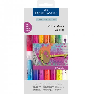 Faber-Castell Акварелни пастели Gelatos, комплект Brights, 12 цвята