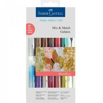 Faber-Castell Акварелни пастели Gelatos, комплект Metallics, 12 цвята