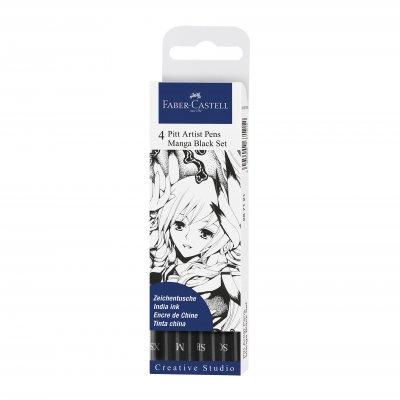 Faber-Castell Маркер Pitt Manga, размер XS, M, SC, SB, 4 броя, черен