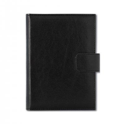 Календар-бележник Ниагара, с дати, A5, кожена подвързия, черен