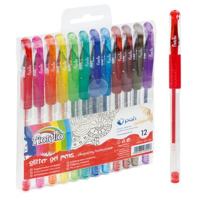 Химикалка Fiorello Glitter гел 1 mm 12 цвята