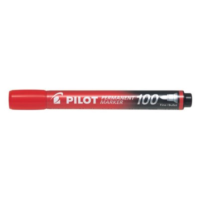 Перманентен маркер Pilot 100 объл връх Червен