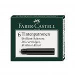 Faber-Castell Патрон за писалка, черно мастило, 6 броя