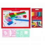 Faber-Castell комплект – флумастери Connector 10 цвята, блок за рисуване и шаблон за рисуване