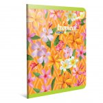 Gipta Tropical Тетрадка А4, бяла, широки редове, картонена корица, 60 листа