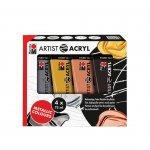Marabu Акрилна боя Artist Acryl, металик, 75 ml, 4 броя