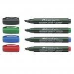 Перманентен маркер Faber-Castell Скосен връх Зелен